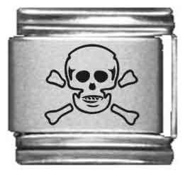 (Skull Laser Italian Charm)