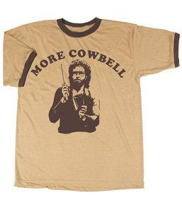 Mens Brown Ringer (SNL Saturday Night Live More Cowbell Vintage Tan with Brown Ringers T-Shirt Tee, Tan, X-Large)
