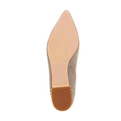 Daily Ballet Slide On Women's Flats XYD Shoes Chic Heel Pointed Slip Khaki Low Toe Dark Loafer Walking PzdAq7XA