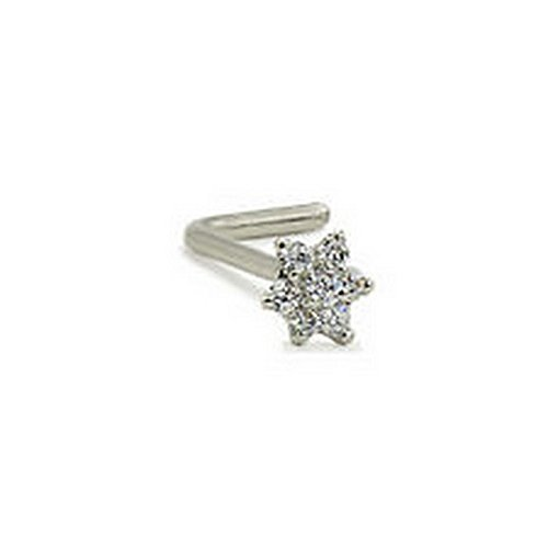 YD Jewelry - 14KT Solid White Gold L Bend Nose Stud Ring 4.5mm Christina Flower Gauge 20G (Nose Ring Christina)