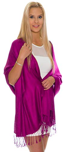 Sequin Silk Chiffon - Pashmina Shawls and Wraps - Large Scarfs for Women - Party Bridal Long Fashion Shawl Wrap with Fringe by Petal Rose (Plum)