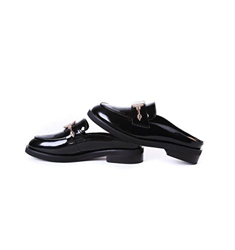Half Women 's Slippers Knives Fashion Slippers Leather Flat Outside Heeled Fashion Women Black GRRONG Wear Cool High q6x5FW
