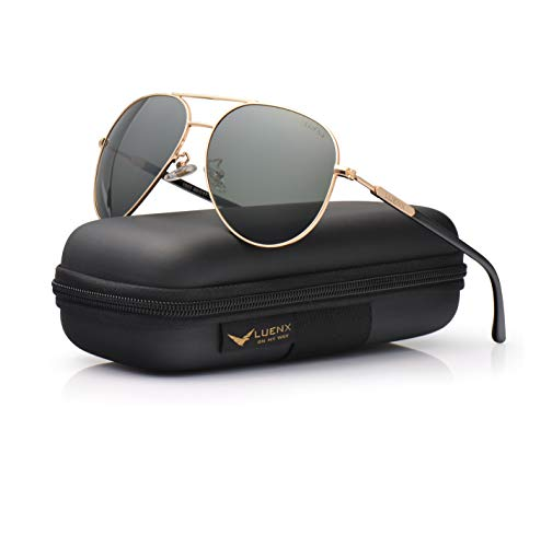 - Mens Womens Sunglasses Aviator Polarized Driving by LUENX - UV 400 Protection Grey Green Lens Gold Metal Frame 60mm
