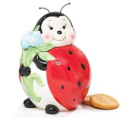 Ladybug Cookie Jar<br>Painted with Raised Details<br>10 Inches High