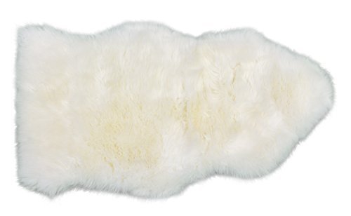 Surell Authentic Shearling Sheepskin Throw Rug - Natural White Color 2' x 3' - Natural Fur Lambskin Stylish Accent Throw