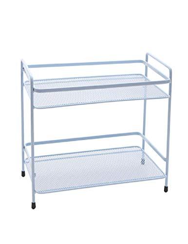 Purki Shelf, Double Kitchen Bathroom Bedroom Shelf, Household Wrought Iron Desktop Storage Rack, Storage Rack, Macaron Multicolor Optional (L25.5cm × W16.5cm × H24.5cm) (Color : - Shelves Ladder Double Desk
