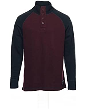 Jeans Co Men's Wine Color Block Mock Neck Sweater