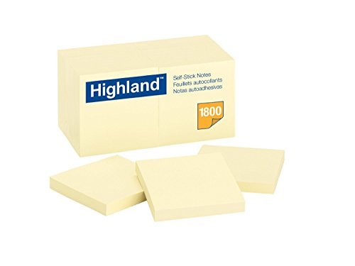 Highland Notes, 3 x 3-Inches, Yellow, Case of 18 Dozens by 3M