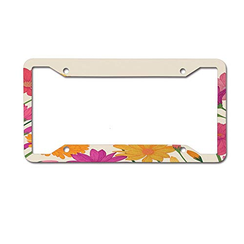 (Dinzisalugg Vintage Summer Daisies Bouquet Blossom Beauty Wedding Anniversary Marigold Flora License Plate Frame Car tag Cover Aluminum Car for US Canada Standard 4 Holes and Screws)