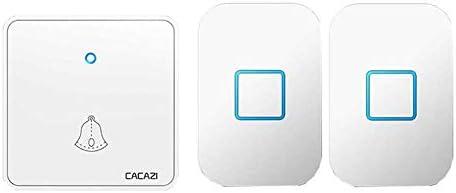 ウォールプラグインコードレスドアチャイム、1000フィートレンジのポータブル電動ドアベルキット、60トーン5ボリュームレベル2プッシュボタンと1レシーバー,白