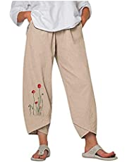 Harem Sweatpants for Women Boho Polyester Linen Capri Pant Y2K Pocket Baggy Pant Casual Elastic Waist Trousers