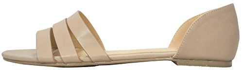 Cambridge Select Womens Casual Triple Strap Uitgesneden Comfort Slip-on Platte Sandaal Oud Roze