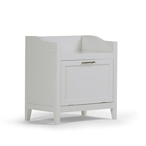 Simpli Home Avington Storage Hamper Bench, White Bench Hamper