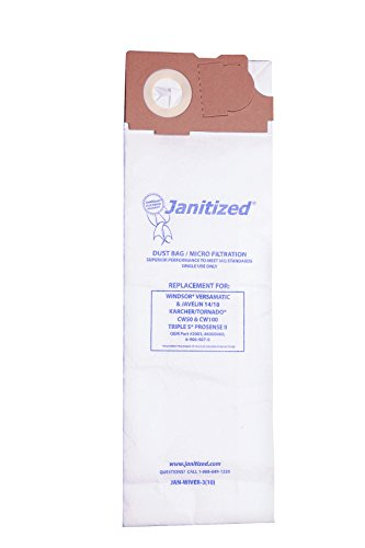 - Janitized JAN-Wiver-3(10) Premium Replacement Commercial Vacuum Paper Bag, Windsor Versamatic, Javelin 14/18, SSS Prosense II, OEM#2003, 86000460, 6-906-907-0 (Pack of 10)