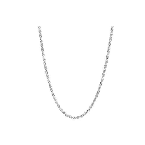 Sterling Silver Twist Rope - Verona Jewelers Sterling Silver Diamond-Cut Rope Chain Necklace 2MM, 2.5MM, 3MM- 925 Braided Twist Italian Necklace (30, 2MM)