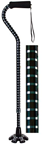 Essential Medical Supply Couture Offset Fashion Cane with Matching Standing Super Big Foot Tip, Hounds Tooth Style