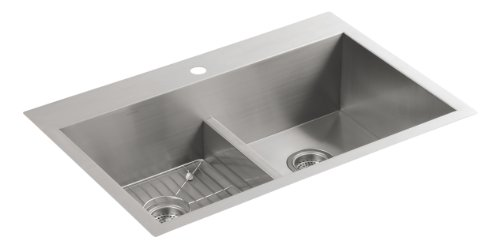 KOHLER K-3838-1-NA Vault Smart Divide Double-Equal Sink - Smart Divide Undercounter Kitchen Sink