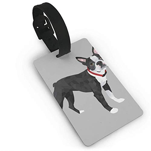 (Luggage Tag With Adjustable Wrist Strap - Boston Terrier Grey Travel Id Identification Labels For Women Men, Personalized Bags & Baggage Tags Name Id Labels)