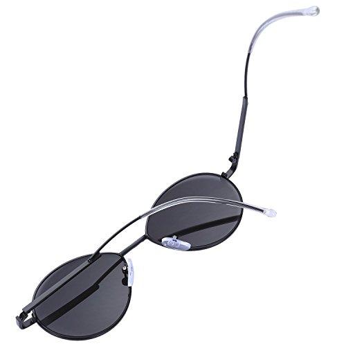 sol de Sombras Pierna plegado Negro Gafas de Espejo TOOGOO de Disenador la Moda Gafas Negro calidad marca de de Alta lujo Mujeres Oval sol EXSAq