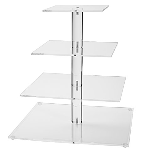 Jusalpha 4 Tier Square Wedding Acrylic Cupcake Tower Stand-Cake Stand-Dessert Stand (4S)