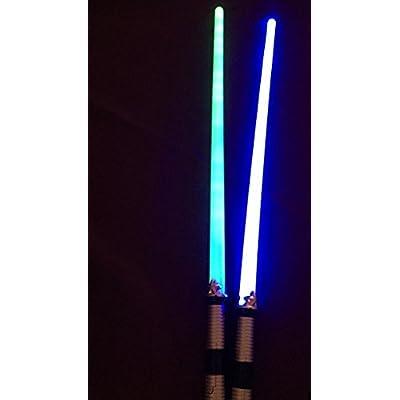 Light Saber LED 2 Pack Blue Green Light up Sword: Toys & Games