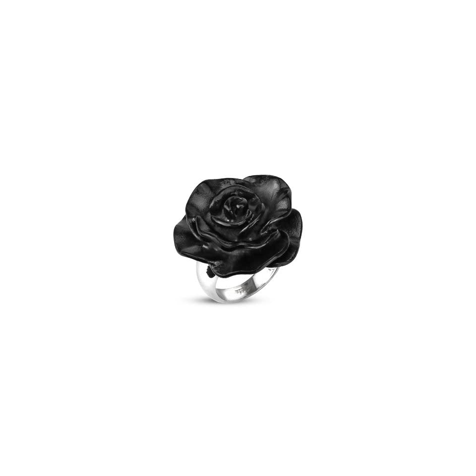 8MM Polished Stainless Steel Ring For Women with Fully Bloomed Black Plated Rose