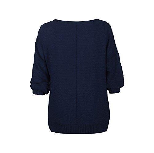 Donna T shirt A Knit Tinta Colore Magliette Pipistrello Tre Maglieria Maniche Bluse Unita Scollo Sciolto Maglioni Inverno Top Barchetta Sweater Pullover Puro Quarti Maglia Eleganti Casual Autunno Blu O7qUrO