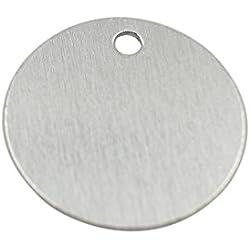 GazeKu blank stamping tags, W/Hole, Aluminum .032 Inch (20 Ga.) (1 Inch Round) (Pack of 25)