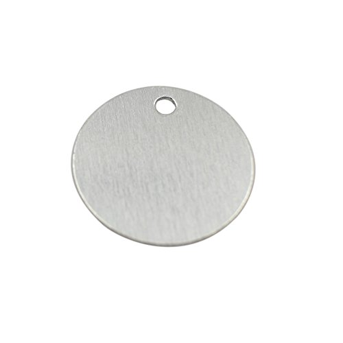 GazeKu blank stamping tags, W/Hole, Aluminum .032 Inch (20 Ga.) (1 Inch Round) (Pack of 50) by GazeKu