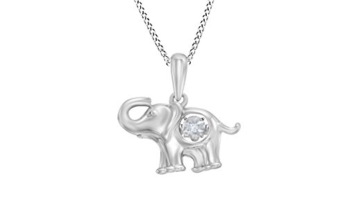 Pendant Diamond Accent Elephant (Jewel Zone US Natural Diamond Accent Elephant Pendant Necklace In 14K White Gold Over Sterling Silver)