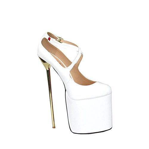 Mujeres Nuevos Uk Stiletto 44 Dressy eur41uk758 De Tobillo Negro Baja Eur Primavera Impermeables Party Boca Sexy White Nvxie Único Wedding Tacón Correa Artificiales Rojo Pu Zapatos Bombas Alto Caída Nightclub d5qxpd