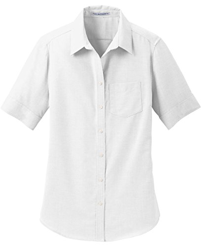 Port Authority womens Short Sleeve SuperPro Oxford Shirt, White, Small -