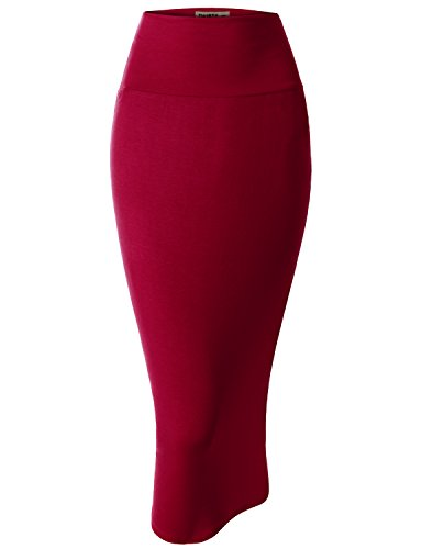 Doublju Women Day-to-Night Wide Waist Band Pencil Big Size Skirt RED,2XL