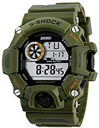 Vavna Mens Military Digital Outdoor Electronic Water Resistant LED Sport Watch with S-Shock Multifunctional - Army Green (The Cheapest Watch In Kids)