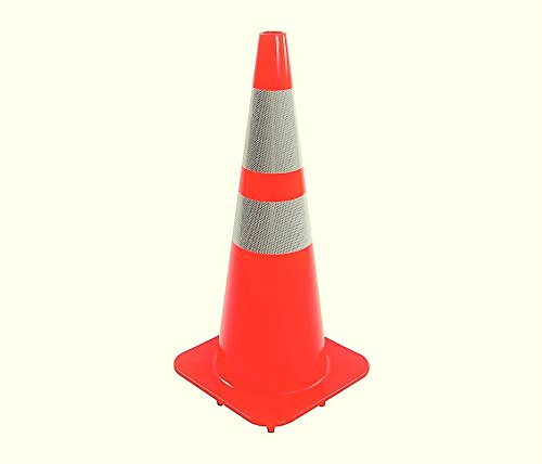 (6 Cones) CJ Safety 28'' Orange PVC Traffic Safety Cones with 6'' & 4'' Reflective Collars (Set of 6) by CJ Safety