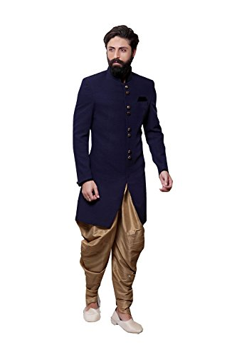 Readymade Indian Wedding Sherwani Set for Men Marriage Party wear Outfit Ethnic Traditional Dress in Blue Fancy