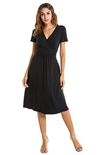 - Women's Cross Wrap V Neck Long Sleeve Slim Knee Length Swing Dress (Medium, Black)
