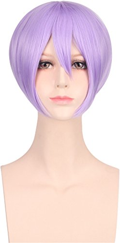 ACE SHOCK Cosplay Wig Women Short Straight, Synthetic Halloween Anime Costume Bob Hair (Pale Purple)