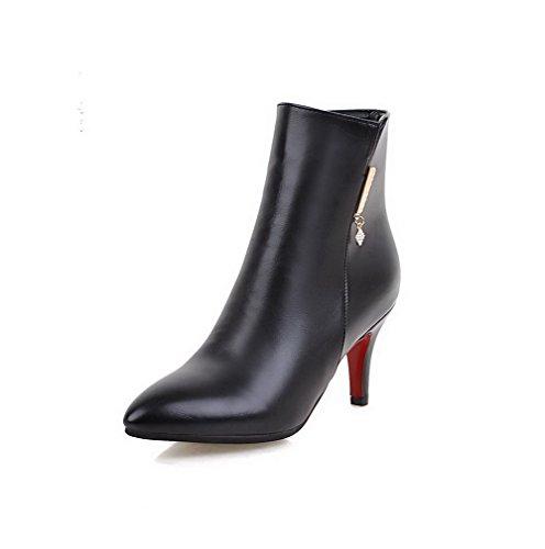 AllhqFashion Damen Eingelegt PU Niedrig-Spitze Stiefel mit Beschlagene Strass, Schwarz, 35