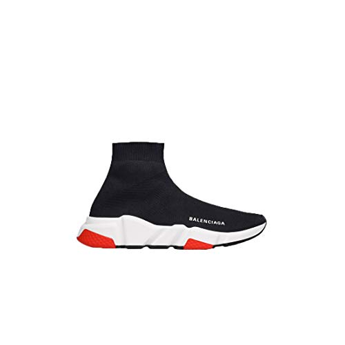 Men's & Women's Speed Trainer Mid 'Black red ' Unisex Fashion Athletic Shoes Classic Sneakers Knit Running Lightweight Breathable Walking Jogging Sports Shoes (Europe38)