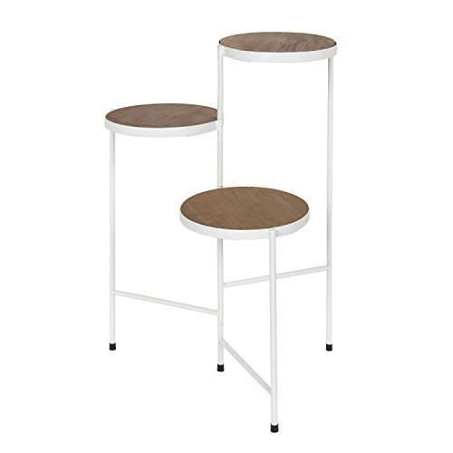 Kate and Laurel Fields Tri-Level Metal and Wood Plant Stand, Rustic Brown and ()