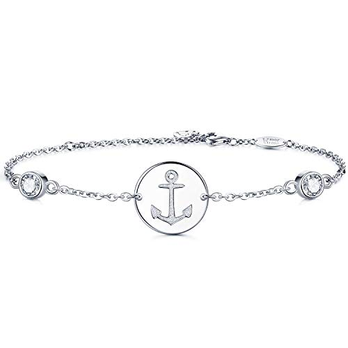 (AmorAime Anchor Symbol Bracelet S925 Sterling Silver Cubic Zirconia White Gold Plated Adjustable Women Jewelry Gift)