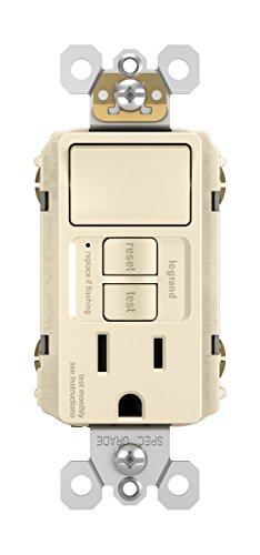 Legrand - Pass & Seymour radiant 1597SWTTRLACCD4 15 Amp Combination Self-Test Tamper-Resistant GFCI Safety Outlet/Single Pole Switch, Light Almond