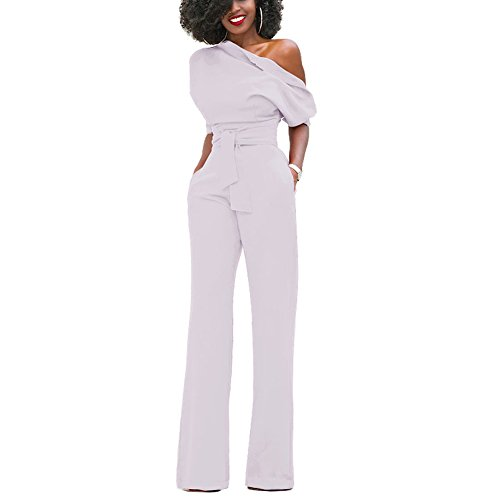Solid Color Elegant Jumpsuits for Women Party Evening Wedding 2017 White L