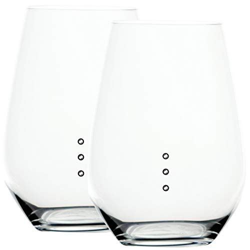 Elegance XL Stemless Measuring Wine Glass with Wine Measuring Marks of 4, 6, and 8 Ounces, Wine Glass Set of 12