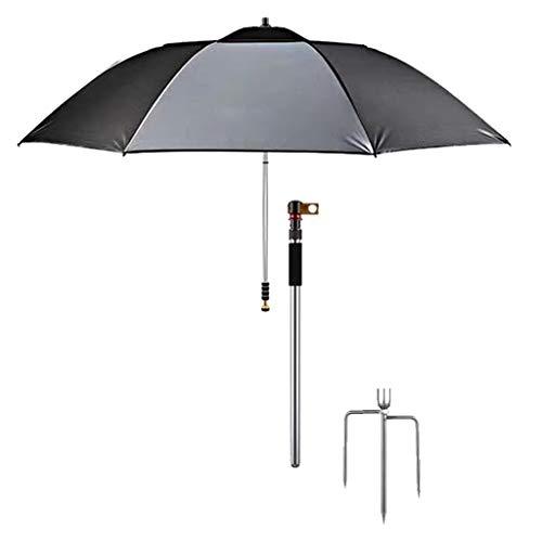 Belltower Folded Beach Umbrella with Tilt Portable Silver Coating Inside UV Protection Stripe for Travel,Fishing and Outdoor Aluminum Frame Multi Stripes