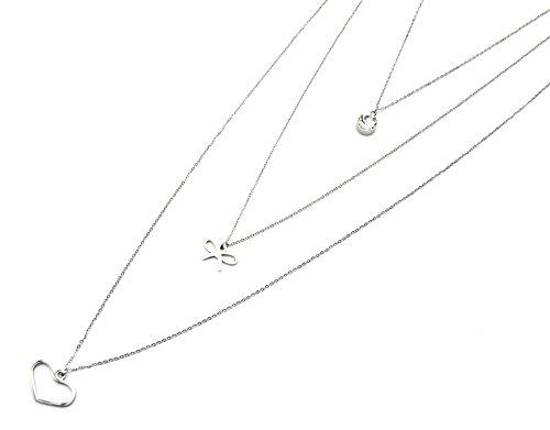 CL1218E - Sautoir Collier Multi-Rangs Pendentifs Pierre Noeud et Coeur Acier Argenté - Mode Fantaisie