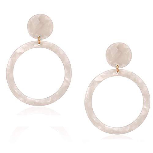 Acrylic Earrings Tortoise Shell Disc Hoop Earrings Bohemian Circle Statement Resin Drop Earrings Women Acrylic Stud Dangle Earrings (R-White) - Disc Round Drop