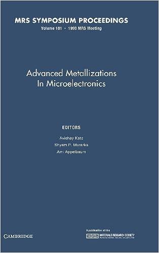 Book Advanced Metallizations in Microelectronics: Volume 181 (MRS Proceedings)