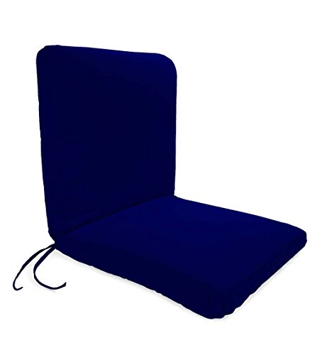 Classic Polyester Outdoor Chair Cushion With Ties, Seat 19'' x 17'' x 2.5''; Back 19'' x 19'' x 2.5'' - Midnight Navy